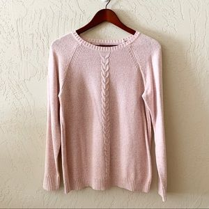 Karen Scott Pink & White Knit Crew Neck Sweater S